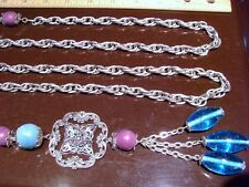 "Vintage CHAIN and BEAD BELT~Antiqued Silvertone~52""~Ornate Metal~Glass Dangles"