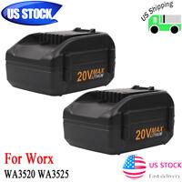 2 Pack 4.0Ah Li-ion 20V Max Battery for WORX WA3520 WA3525 WG251 WG155s WG540