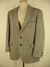 L sz 44R Harris Tweed Black Gray Herringbone Tweed Wool Sport Coat Blazer Jacket