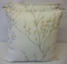CUSHION COVER IN LAURA ASHLEY PUSSY WILLOW Off WHITE DOVE GREY