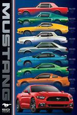 FORD MUSTANG RAINBOW 50th Anniversary 6 Generations American Muscle Car POSTER