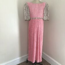 Vintage MARY MCFADDEN COUTURE Jeweled Fortuny Pleat Pink Evening Gown Dress 10