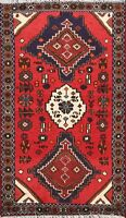 Tribal Geometric Hamedan Area Rug Wool Hand-knotted Oriental Foyer Carpet 3x5 ft