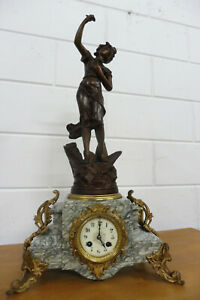 Antique French Mantel Clock Antique Marble Bronze Clock