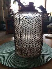 Antique Oil Kerosene Glass Container Metal Mesh on Outside