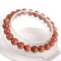 Beautiful 8mm Gold Sandstone Round Gemstone Beads Elastic Bracelet 7.5''