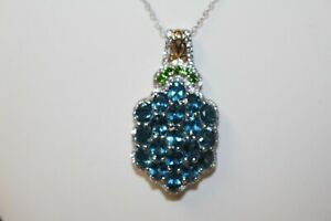 London Blue Topaz Pendant with chain 14k YG and Platinum/SS NWT ERV: $519.99
