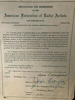 JOAN CRAWFORD SIGNED ORIGINAL ONE-OF-A-KIND 1938 AFRA MEMBERSHIP APPLICATION!!!!