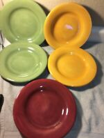 (5)  TABLETOPS UNLIMITED SALAD PLATES--ESPANA--3 COLORS--FREE SHIP--VGC