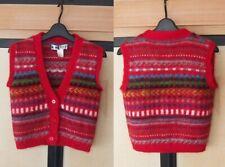Kansai Yamamoto Lady's Vintage 1980's Unique Knit Vest Sweater Retro Thick Wool