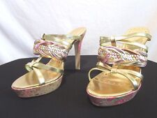 BCBGirls Pink & Gold Slip On Platform Stiletto High Heels Size 7.5 B    EUC!!