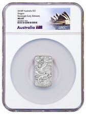 2018 Australia 1 oz Silver Dragon $1 Bar NGC MS69 ER Exclusive Label SKU52661