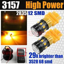 3157 3457 High Power 2835 Chip LED Amber Yellow Turn Signal Parking Light Bulbs