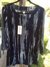 NWT Modesce Tunic Top Pam L Blue Handpainted Rayon
