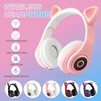 Wireless Bluetooth 5.0 Headphones Foldable Cat Ear Earphone Stereo Bass Headset
