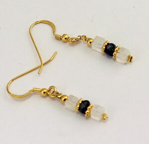 Rainbow Moonstone And Iolite Earrings 925 Gold Plated Silver Earrings 1 21/32in