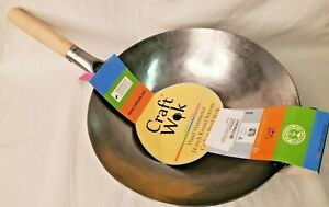 Craft Wok Traditional Hand Hammered Carbon Steel Pow Wok with Wooden and Steel /