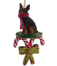Miniature Pinscher Min Pin Black Dog Candy Cane Christmas Ornament Holiday Xmas