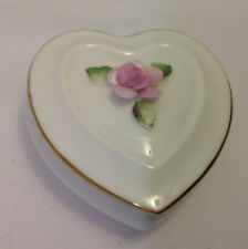 COALPORT HEART SHAPED BONE CHINA TRINKET BOX SCULPTED PINK ROSE ON LID GOLD TRIM