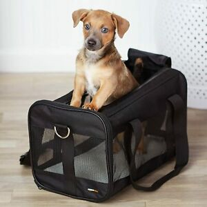 Pet carrier bag, soft side panels, Black, Medium