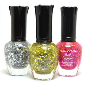 3 Kleancolor Nail Polish Glitter Silver, Gold, Purple Starry Set Lacquer 3SET70