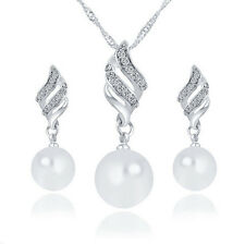 Wave Leaf White Pearls Silver Bride Wedding Jewellery Set Necklace Earrings S929