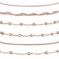 Amberta Jewelry Rose Plated on 925 Sterling Silver Adjustable Anklet for Woman