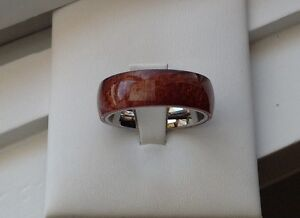 8MM STAINLESS STEEL BROWN WOOD MAN'S WEDDING ANNIVERSARY BAND RING SIZE 9-13.5