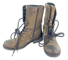 Portugal Leather Vintage Lace & Zip-up Brown Walking Boots Troopa Style Womens 7