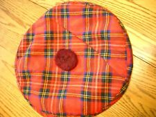 Viyella Red Plain Cap with Pom Pom Small Woven in Scotland Crest Of Perfection