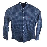 Ralph Lauren Mens Size XL  Button Down Long Sleeve Shirt Cotton Blue Plaid Slim