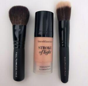 Bare Minerals Travel Mini 3pc Stroke of Light Highlighter Face Brush Gift Set