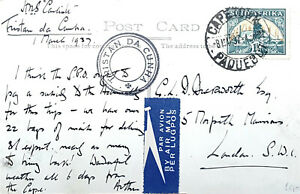 1937 Tristan da Cunha HMS Carlisle postcard cover to England