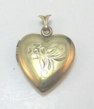 14K YELLOW GOLD FILLED FLOWER ETCHED HEART LOCKET VINTAGE PENDANT ****