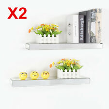 2X 60cm Bevelled Mirrored Floating Wall Shelf Storage Shelves Display