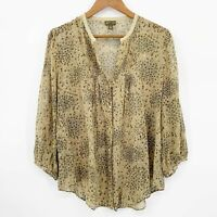 Anthropologie Fei Size 14 Covorting Floral Silk Blouse Button Up Green Sheer
