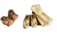 Vtg Doll Shoes Lot 2 Pr Beige Brown Loafers & Boots 1pr Sox for Very Small Dolls