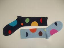 🇬🇧 *TWIN PACK 2 PAIRS* 80% Merino Wool Spot Socks 6-11 Navy Blue/Red/Yellow