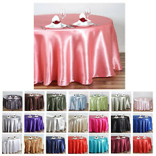 """108"""" Round Satin Tablecloth For Wedding Party Banquet Events Decoration"""
