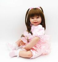 "24"" Reborn Baby Girl Toddler Christmas Doll Soft Vinyl Silicone Vivid Toy Gift##"