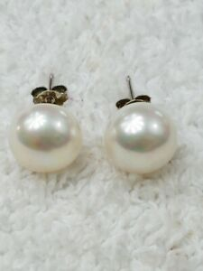 Luc 925 Sterling Silver Genuine Pearl Stud Earrings Lustrous Cream Color EA012