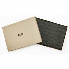 More details for genuine zippo collector case alligator pattern  black, leather holds 8 lighters