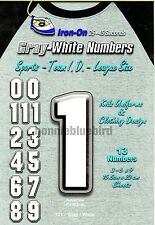 Iron On NUMBERS White & Grey Team 13 ct Pack 4 inches /10.2 CM Vinyl Transfers