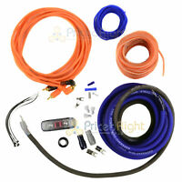 True 4 Gauge AMP Amplifier Kit Installation Power Wiring Complete Blue Cables