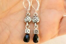 Altered Brighton Silver Charm & Tear Drop Black Crystal On Lever Back Earrings