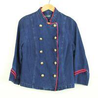 Ralph Lauren Womens Denim Military Officer Jacket L Gold Buttons Cotton Linen