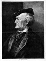 COMPOSER RICHARD WAGNER PORTRAIT GREAT MUSICIAN ANTIQUE MUSIC HISTORY ENGRAVING