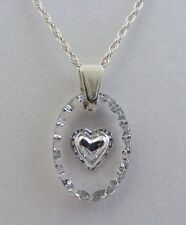 Hand Painted Heart Oval Crystal Pendant - Silver