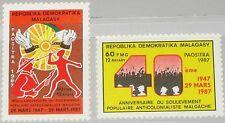 Madagascar MALAGASY 1987 1050-51 784-85 40 Ann anti colonial revolt Movement MNH