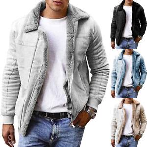 Mens Long Sleeve Winter Fleece Lined Jacket Casual Warm Zip Up Coat Soft Outwear